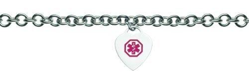 Womens Stainless Medical Alert ID Heart Charm Bracelet - Medical Charms For Bracelets
