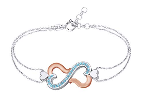 AFFY Round Shape Simulated Blue Topaz Two Tone Infinity Heart Link Chain Bracelets in 14k White Gold Over Sterling Silver -8.5