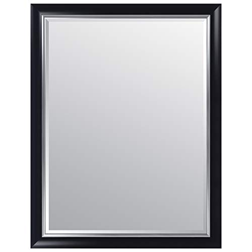 Everly Hart Collection 36x48 Black and Silver Scoop Framed Beveled Wall or Leaner Mirrors