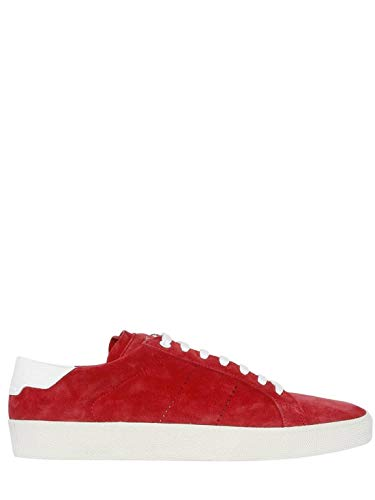Saint Laurent Court Classic SL01 Suede Red Authentic $700 Sneakers Size 42.5 (New Mens Authentic Suede Sneaker)