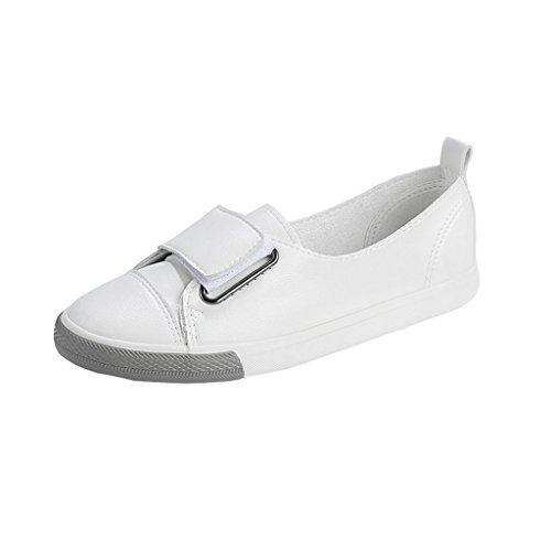 Planos Moda De Velcro Superficie Pedal Boca Estilo Blancos Profunda Nuevo Sandales Blanco Cuero Salvaje Poco Zapatos SBqWH