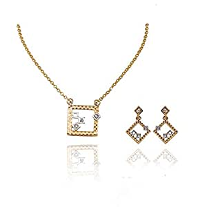 Viennois Women's Fashion Casual Jewelry Set Gold Plated Necklace and Earrings