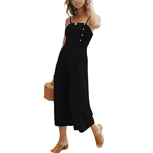 Black pantalone cosciale larga a Jahurto larga gamba gamba a da donna con a Pagliaccetto z6fOT