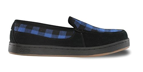 Adio Skateboard Slipper Schuhe Thurston Black / Blue Plaid - Slip On - Slip Ons