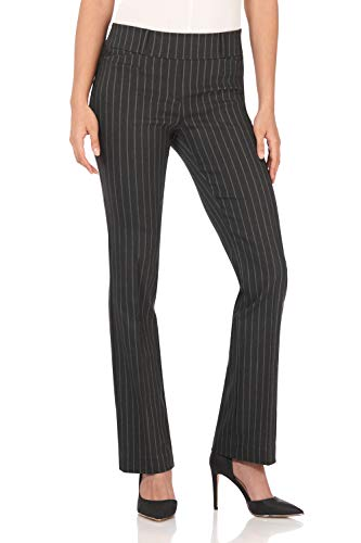 Rekucci Women's Ease in to Comfort Fit Barely Bootcut Stretch Pants (10SHORT,Dark Charcoal Pinstripe)