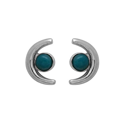 Half Moon Style Stud Earring Round Cab Turquoise Gemstone 925 Sterling ()