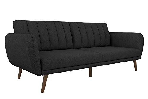 Novogratz Brittany Sofa Futon, Premium Linen Upholstery and Wooden Legs, Dark Grey ()