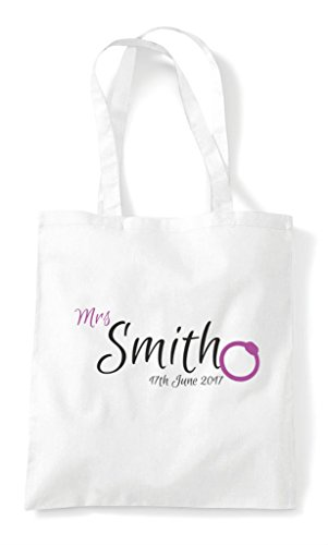 Personalised Party Elegant Do To Tote Surname Customised Blue Shopper Bag Sky New Bride Style Be Hen HqTwzw