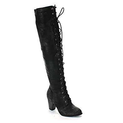 Forever Camila-48 Womens Chunky Heel Lace Up Over The Knee High Riding Boots,Black,6