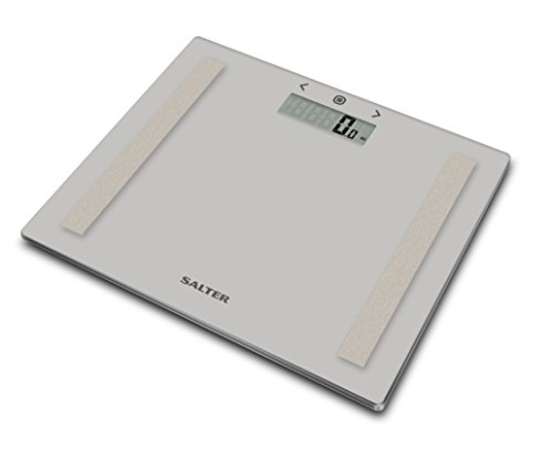 Salter Compact Body Analyser Bathroom Scales, Measure Weight BMI Body Fat Body Water, Ultra Slim Toughened Glass, 8 User Memory, Easy to Read Digital Display, Instant Reading Step-On Feature - Grey