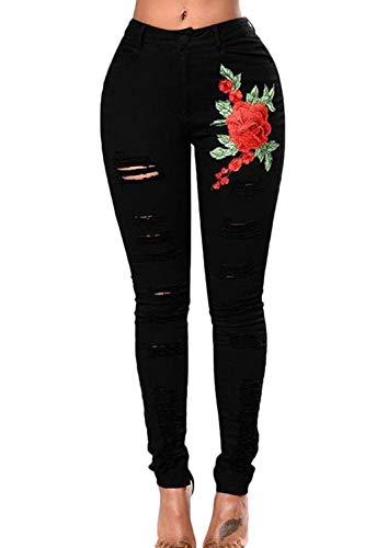Jeans Floral Poche Jean des Black Pantalons De Dchirs AqCBw
