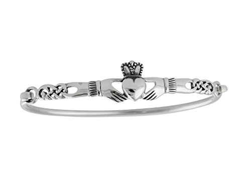 Celtic Claddagh Bracelet - 925 Sterling Silver Irish Claddagh Celtic Knot Bangle Bracelet
