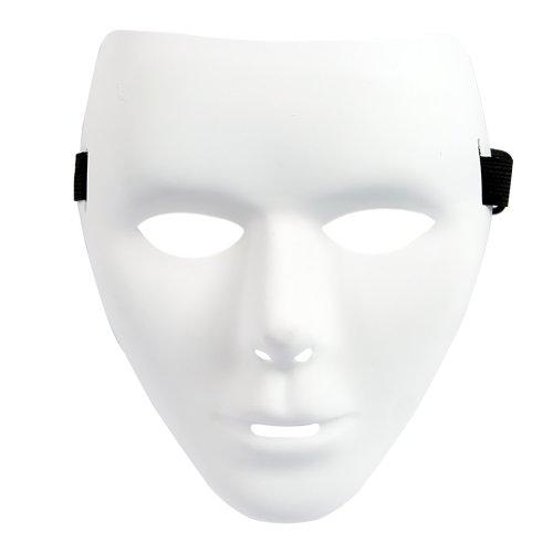 [Estone Full Face Plastic Plain Mask Costume Party Dance Crew For Hip Hop Dance/Opera (Thin-White)] (Plain White Mask Costume)