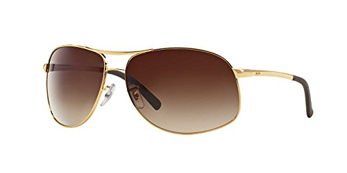df040cf781 Ray-Ban Mens Sunglasses (RB3387) Gold Shiny Brown Metal - Non-Polarized -  64mm - Buy Online in UAE.