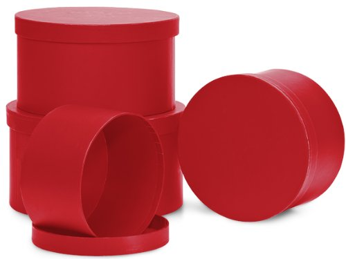 Nested Gift Boxes, Bright Red, Round Set/4