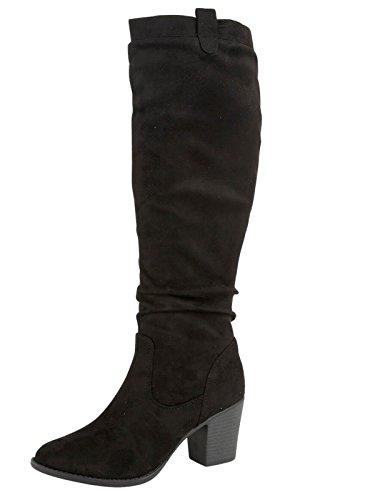 Emma Shoes Ladies Faux Suede Tall Long Leg Knee High Fashion Mid Block Heel Zip Warm Winter Boots Size 4-8 Black