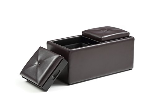 - Hodedah HI 1185 Brown PVC Faux Leather Ottoman, Medium,