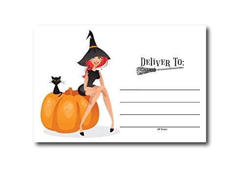 50 Orange & Black Witch Halloween Invitations Postcards for Girl, Boy, Women, and Men, Costume Party, Halloween Party Invitations, Party Decorations, Adults Birthday Halloween Party Invites