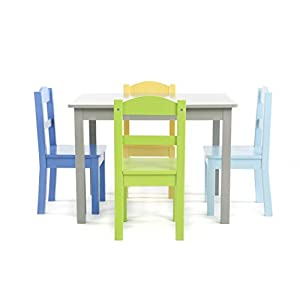 Humble Crew, Grey/Blue/Green/Yellow Kids Wood Table and 4 Chairs Set