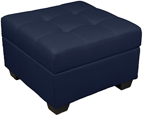 (Epic Furnishings Leather Look Upholstered Tufted Padded Hinged Square Storage Ottoman Bench, 24