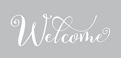 Wall Decor Plus More Wdpm3917 Welcome Cursive Wall Letters Words For Front Door Entry Vinyl Lettering For Décor 13 X 5 White