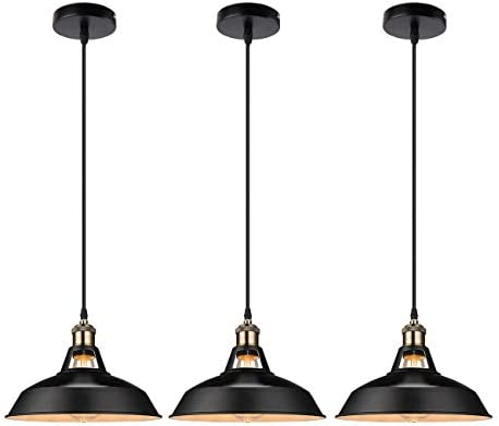 GALYGG Industrial Retro Pendant Lighting – Outside Black Inside White – Metal Shade Ceiling Hanging Light Fixtures 10.63 in Diameter Included LED Edison Bulb – for Kitchen Island – 3 Pack