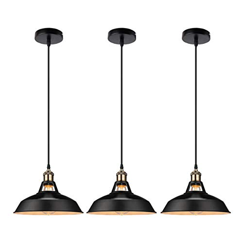 GALYGG Industrial Retro Pendant Lighting  Outside Black Inside White Metal Shade Ceiling Hanging Light Fixtures 1063 in Diameter Included 4W E26 Edison Bulb for Kitchen Island  3 Pack