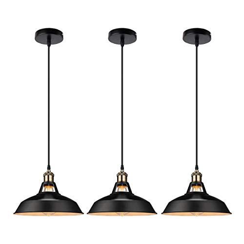 GALYGG Industrial Retro Pendant Lighting  Outside Black Inside White  Metal Shade Ceiling Hanging Light Fixtures 1063 in Diameter Included LED Edison Bulb  for Kitchen Island  3 Pack