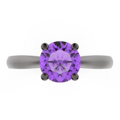 AURORA Bagues Argent Amethyste Violet 0,8 Rond
