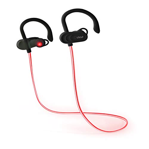 UDD Light Up Earbuds Sport in Ear Wireless Bluetooth 5.0 Headphones Red Laser Lights with Microphone for Sport Running…