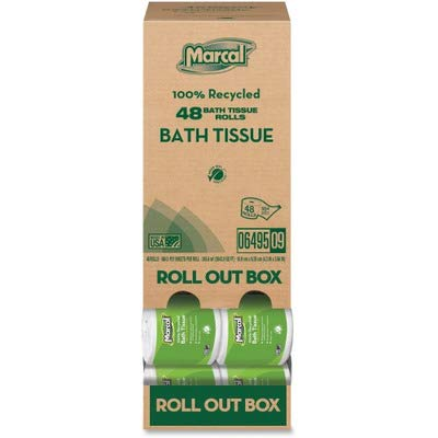Marcal Toilet Paper 100% Recycled - 2 Ply, White Bath Tissue, 504 Sheets Per Roll - 48 Roll Out Rolls Per Case Green Seal Certified Toilet Paper 06495