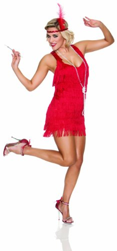 Delicious Lindy and Lace Costume, Red, Small (Red Fringe Flapper Costume)