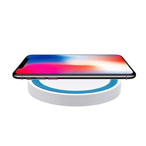 MChoice for iPhone 8/8 Plus/X, New Portable Qi Wireless Power Fast Charger Charging Pad for iPhone 8/8 Plus/X (Blue)
