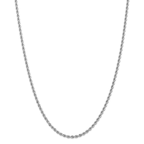 Roy Rose Jewelry 14K White Gold 2.75mm Handmade Regular Rope Chain Necklace ~ Length 16'' inches - 16' Regular Rope Chain