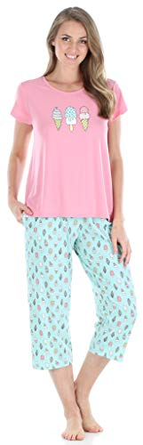 Sleepyheads Women's Sleepwear Jersey Lightweight Short Sleeve Tee and Capri Pajama Set (SH1831-5037-LRG)