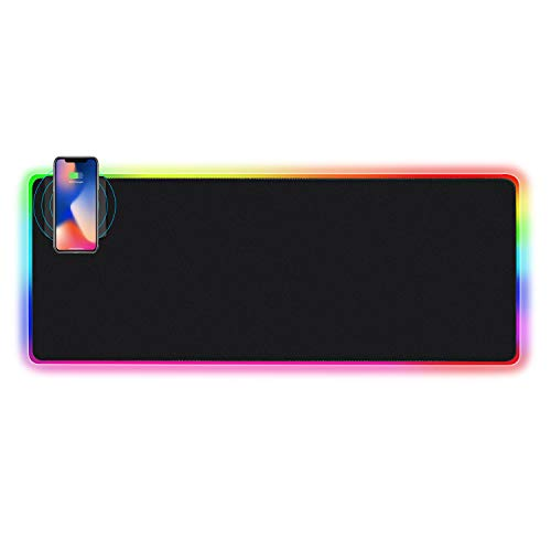 SIGNO 10W Wireless Charger Extended Mouse Pad RGB, Soft LED Gaming Keyboard Mat Wireless Charging Large Mousepad with Non Slip Rubber Base 4MM Ultra-Thick 30.3x11.6 inch (DWC-113)