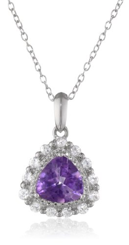 Sterling Silver African Amethyst and Created White Sapphire Teardrop Pendant Necklace, 18