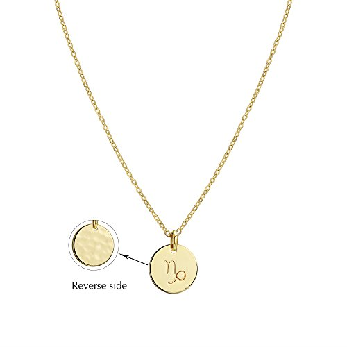 Befettly Constellation Necklace Pendant 14K Gold-Plated Hammered Round Disc Engraved Zodiac Sign Pendant 17.5