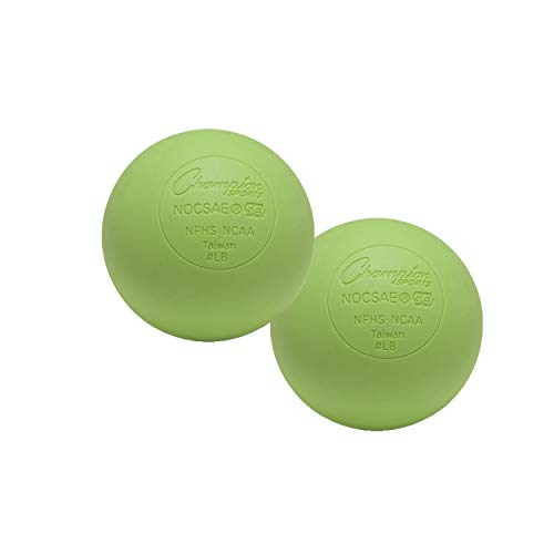 Champion Sports Colored Lacrosse Balls: Green Official Size Sporting Goods Equipment for Professional, College & Grade School Games, Practices & Recreation - NCAA, NFHS and SEI Certified - 2 Pack