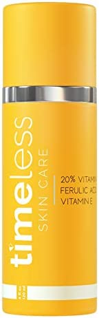 Timeless Skin Care 20% Vitamin C + E Ferulic Acid Serum – 4 oz – Lightweight, Non-Greasy Formula – Use Daily to Brighten, Restore & Correct Skin – Recommended for All Skin Types