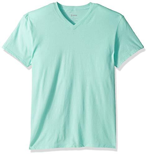 (Soffe MJ Men's CVC Short Sleeve V-Neck Tee, Celadon, Medium)