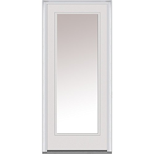 National Door Company Z000366R Fiberglass Smooth Primed, Right Hand In-swing, Prehung Front Door, Full Lite, Clear Glass, 36