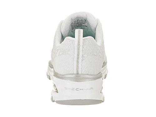 Skechers Femmes Dlite Air Athletic Chaussures Blanc Argent