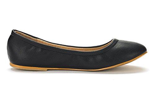 Sueño Pares Mujer Sole-fina Solid Plain Ballet Pisos Zapatos Negro