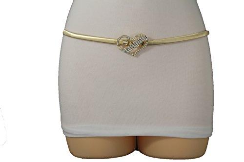[TFJ Women Fashion Elastic Skinny Metal Narrow Belt Hip High Waist Long Buckle S M L (Gold Heart Buckle)] (Heart Cool Belt Buckle)