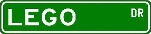 "LEGO Street Sign ~ Personalized Family Lastname Sign ~ Gameroom, Basement, Garage Sign ** Sticker Decal Wall Window Door Art Vinyl - 8.25"" X 2.0"""