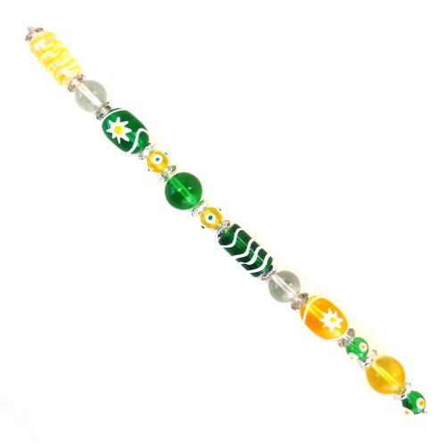 Fiona Jewelry Making Handmade Lampwork Glass Beads Flower Painted, Yellow/Green ()