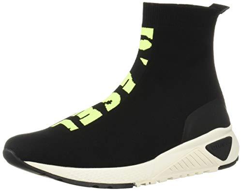 Diesel Men's SKB S-KB ATHL Sock-Sneaker mid, Black/Yellow Fluo, 8.5 M - Yellow Footwear Fluo