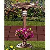 (Solar Lighted Birdbath Bird Bath with Planter Bronze NEW --P#EWT43 65234R3FA525297)