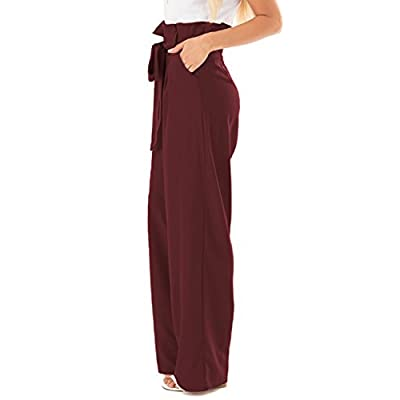 CNFIO Womens Palazzo Wide Leg Pants High Waisted Lounge Work Pants for Women at  Women's Clothing store